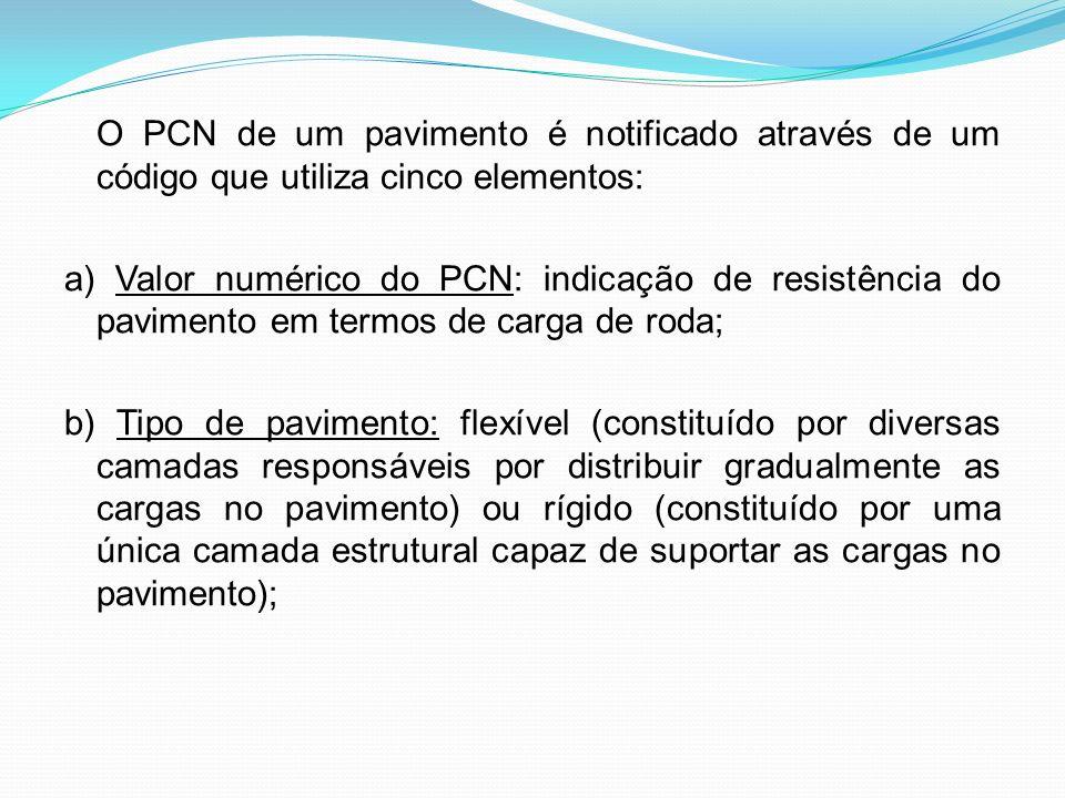 O PCN de um pavimento é notificado através de um código que utiliza cinco elementos: a) Valor numérico do PCN: indicação de resistência do pavimento e