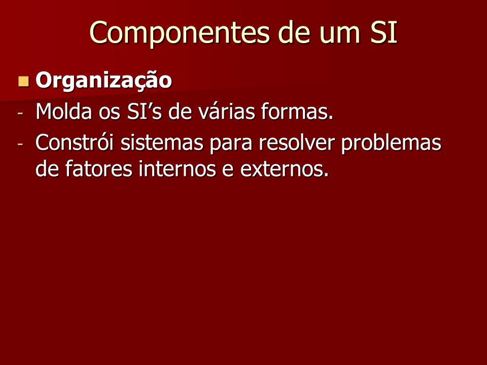 Componentes de um SI Organização Organização - Molda os SIs de várias formas. - Constrói sistemas para resolver problemas de fatores internos e extern