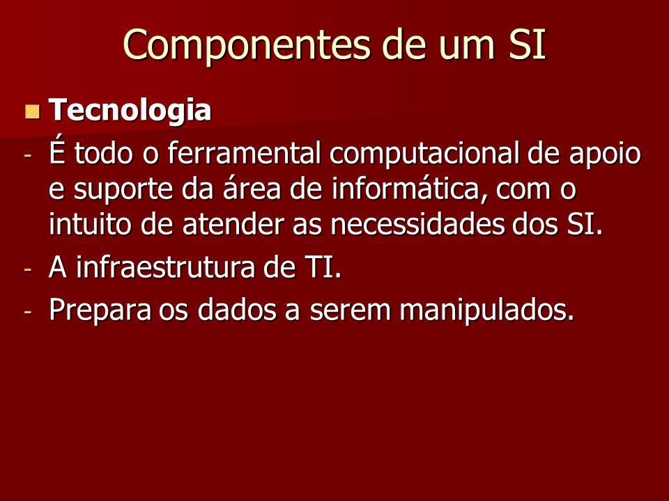 Componentes de um SI Tecnologia Tecnologia - É todo o ferramental computacional de apoio e suporte da área de informática, com o intuito de atender as
