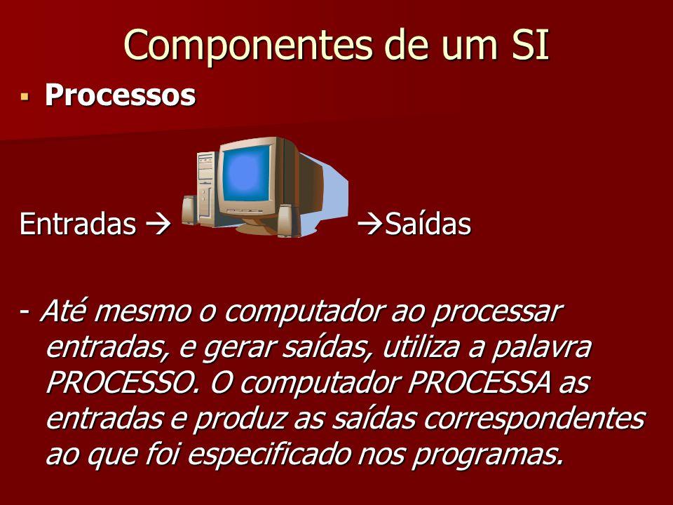 Componentes de um SI Processos Processos Entradas Saídas - Até mesmo o computador ao processar entradas, e gerar saídas, utiliza a palavra PROCESSO. O