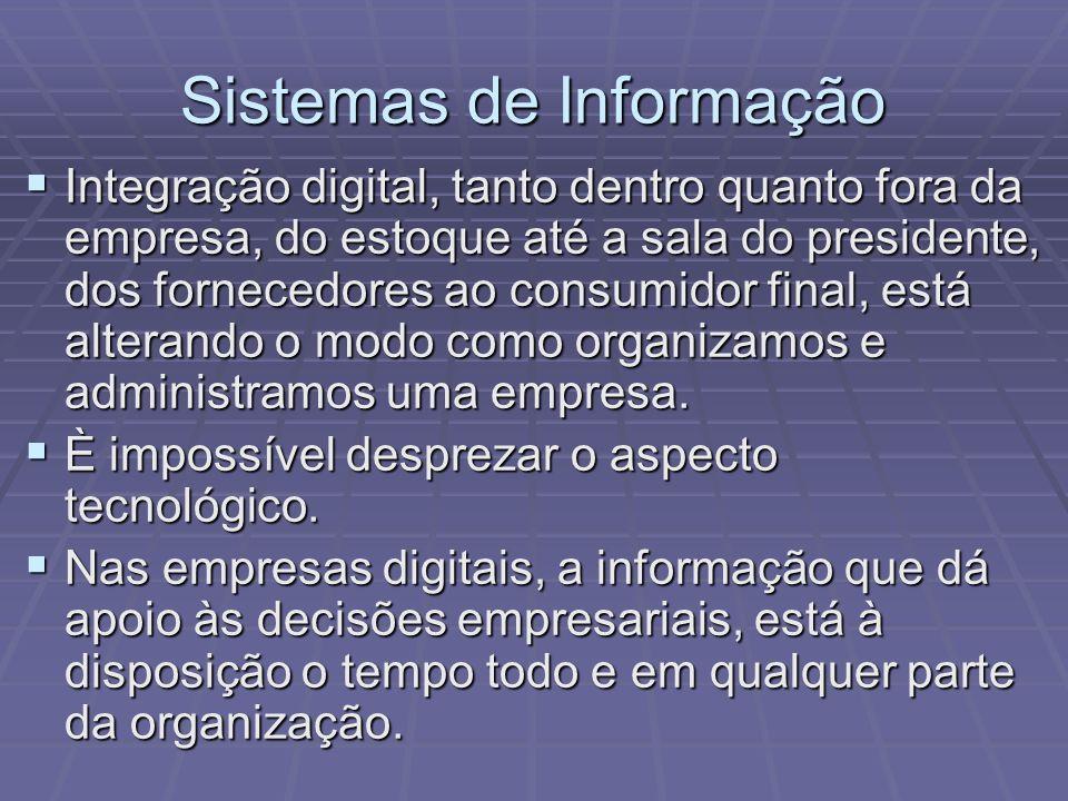 Sistemas de Informação Integração digital, tanto dentro quanto fora da empresa, do estoque até a sala do presidente, dos fornecedores ao consumidor fi