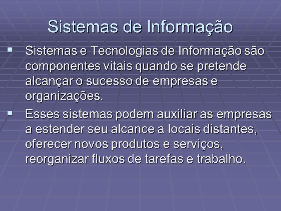 Sistemas de Informação Sistemas e Tecnologias de Informação são componentes vitais quando se pretende alcançar o sucesso de empresas e organizações. S
