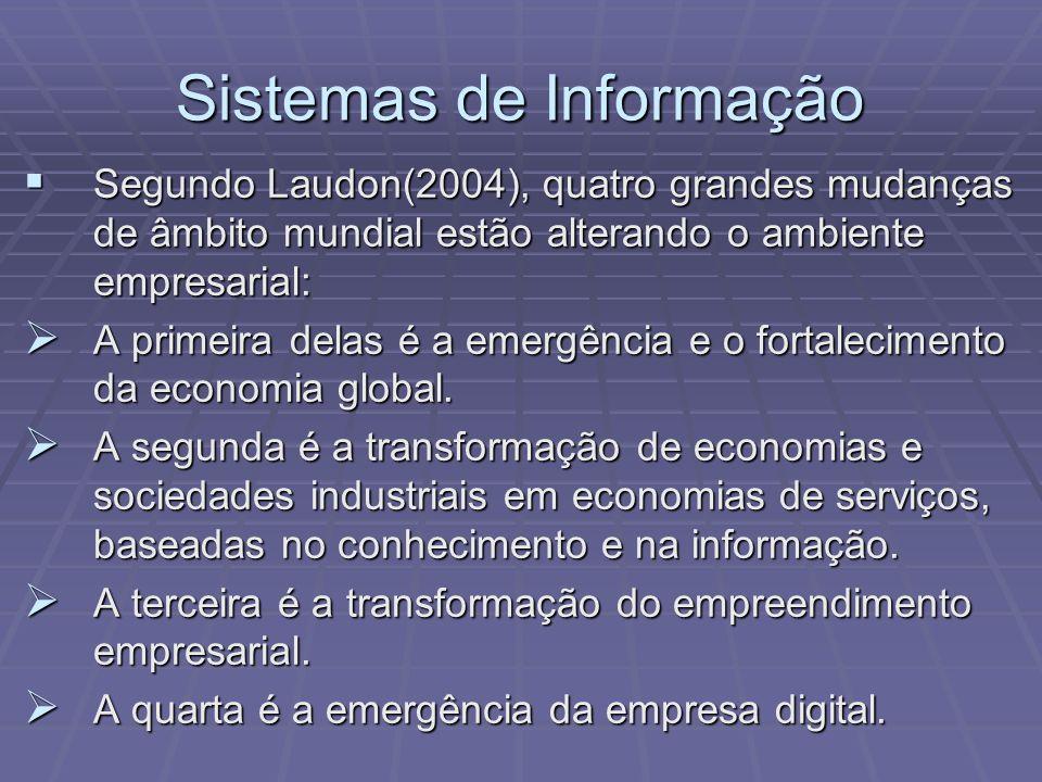 Sistemas de Informação Segundo Laudon(2004), quatro grandes mudanças de âmbito mundial estão alterando o ambiente empresarial: Segundo Laudon(2004), q