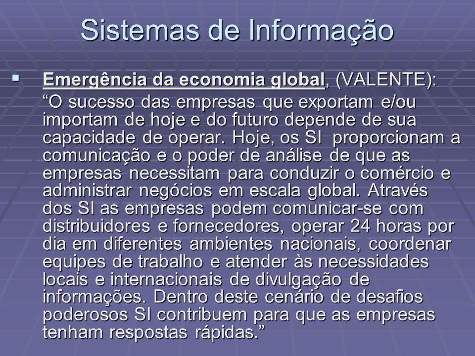 Sistemas de Informação Emergência da economia global, (VALENTE): Emergência da economia global, (VALENTE): O sucesso das empresas que exportam e/ou im