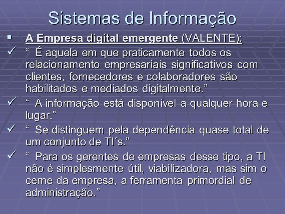 Sistemas de Informação A Empresa digital emergente (VALENTE): A Empresa digital emergente (VALENTE): É aquela em que praticamente todos os relacioname