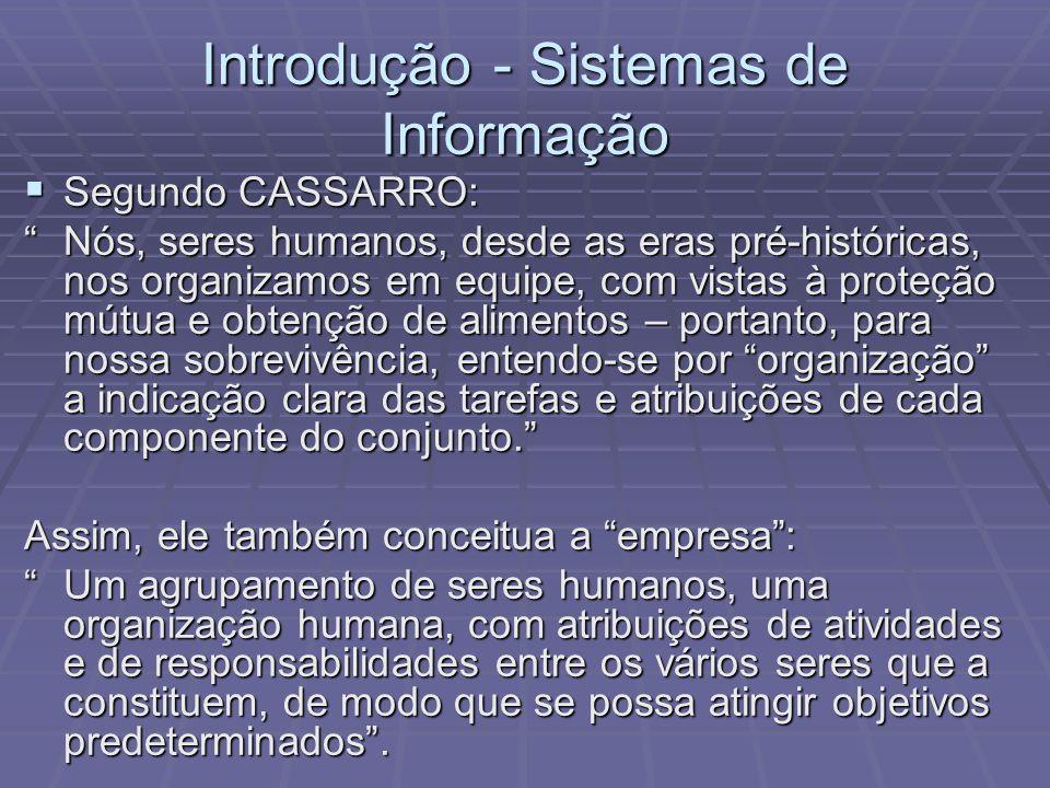 Introdução - Sistemas de Informação Segundo CASSARRO: Segundo CASSARRO: Nós, seres humanos, desde as eras pré-históricas, nos organizamos em equipe, c