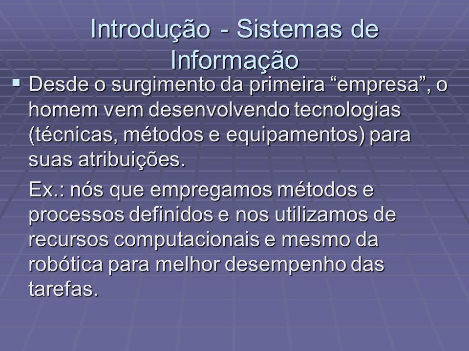 Introdução - Sistemas de Informação Desde o surgimento da primeira empresa, o homem vem desenvolvendo tecnologias (técnicas, métodos e equipamentos) p
