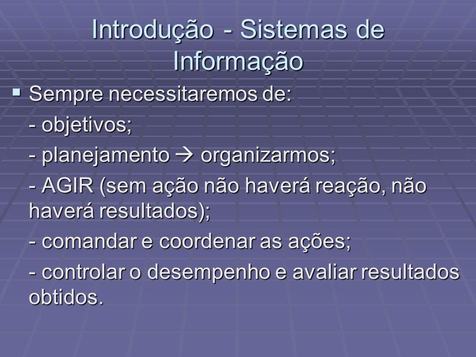 Introdução - Sistemas de Informação Sempre necessitaremos de: Sempre necessitaremos de: - objetivos; - planejamento organizarmos; - AGIR (sem ação não