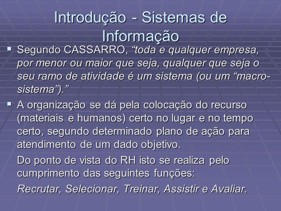 Introdução - Sistemas de Informação Segundo CASSARRO, toda e qualquer empresa, por menor ou maior que seja, qualquer que seja o seu ramo de atividade