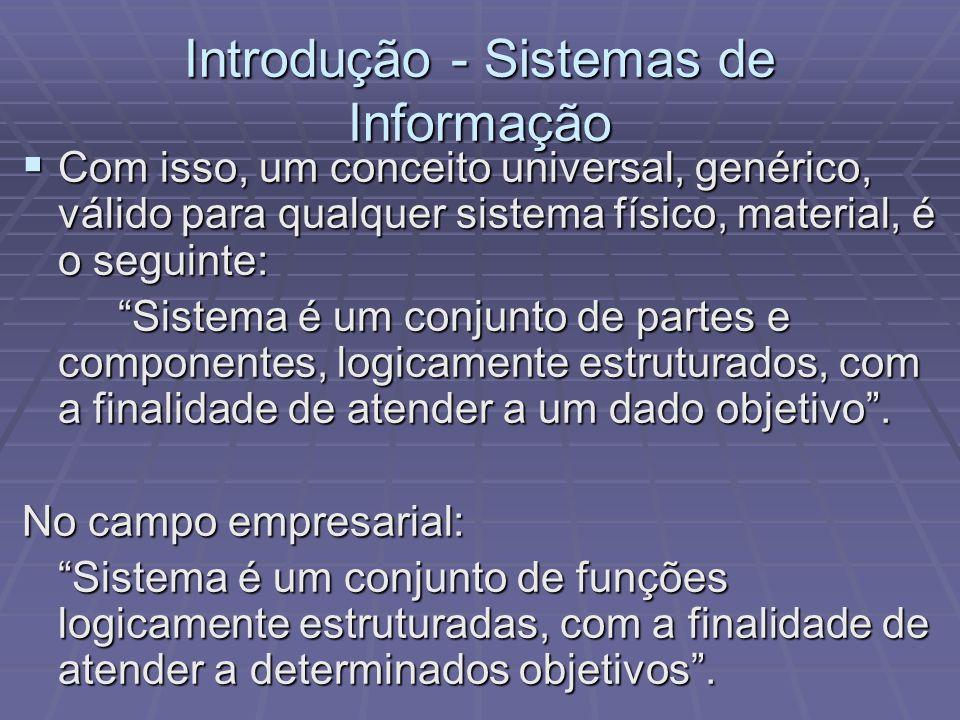Introdução - Sistemas de Informação Com isso, um conceito universal, genérico, válido para qualquer sistema físico, material, é o seguinte: Com isso,