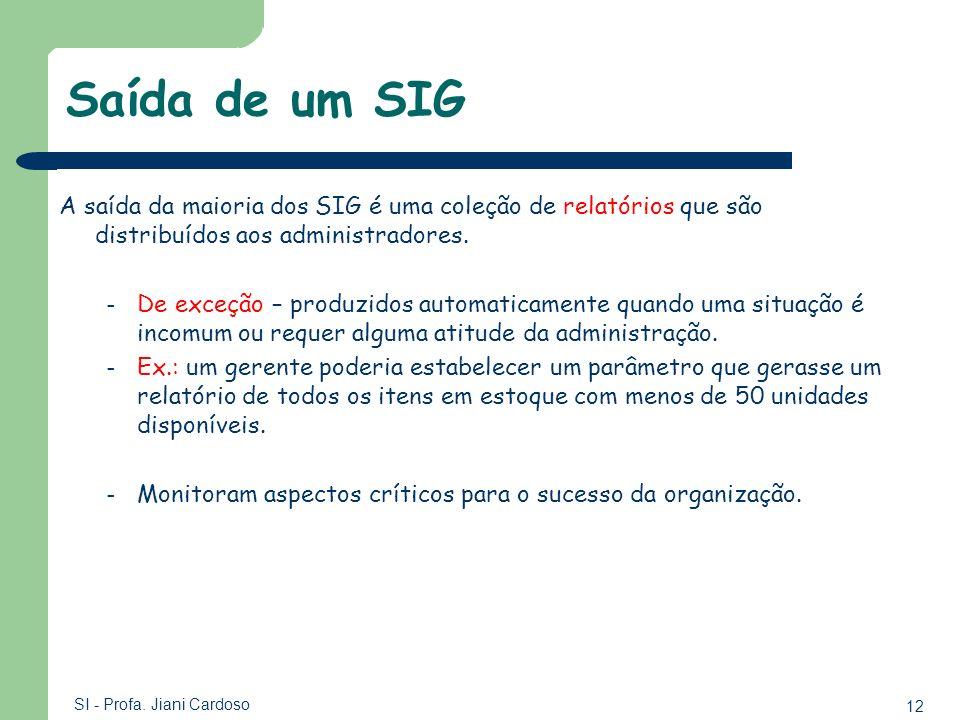 12 SI - Profa. Jiani Cardoso Saída de um SIG A saída da maioria dos SIG é uma coleção de relatórios que são distribuídos aos administradores. – De exc