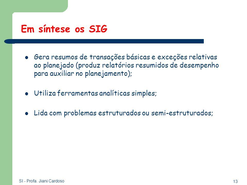 13 SI - Profa. Jiani Cardoso Gera resumos de transações básicas e exceções relativas ao planejado (produz relatórios resumidos de desempenho para auxi