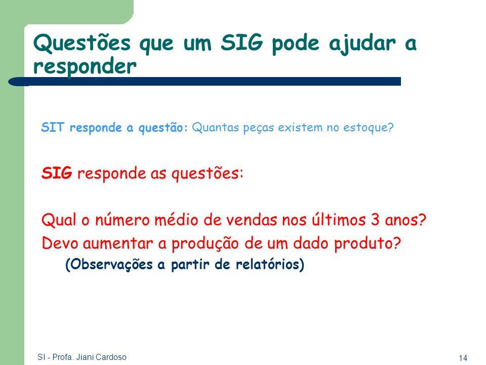 14 SI - Profa. Jiani Cardoso Questões que um SIG pode ajudar a responder SIT responde a questão: Quantas peças existem no estoque? SIG responde as que