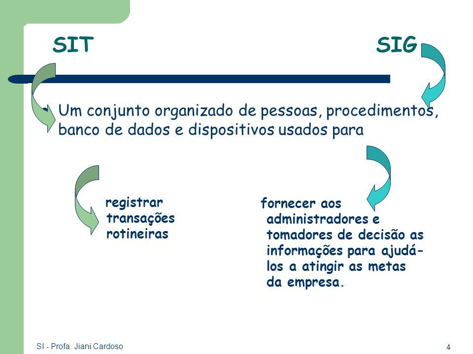 4 SI - Profa. Jiani Cardoso SIT SIG Um conjunto organizado de pessoas, procedimentos, banco de dados e dispositivos usados para registrar transações r