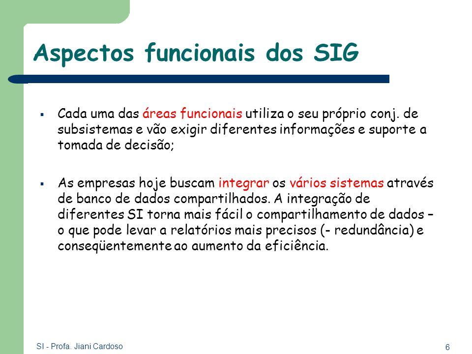 6 SI - Profa. Jiani Cardoso Aspectos funcionais dos SIG Cada uma das áreas funcionais utiliza o seu próprio conj. de subsistemas e vão exigir diferent