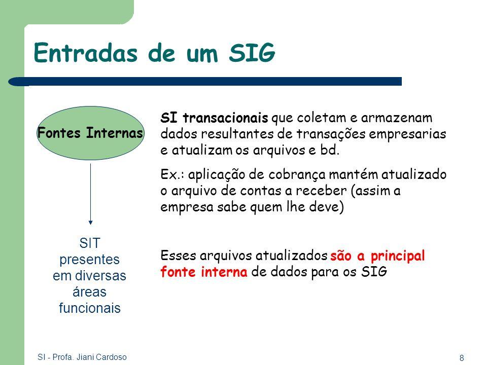 8 SI - Profa. Jiani Cardoso Entradas de um SIG Fontes Internas SI transacionais que coletam e armazenam dados resultantes de transações empresarias e