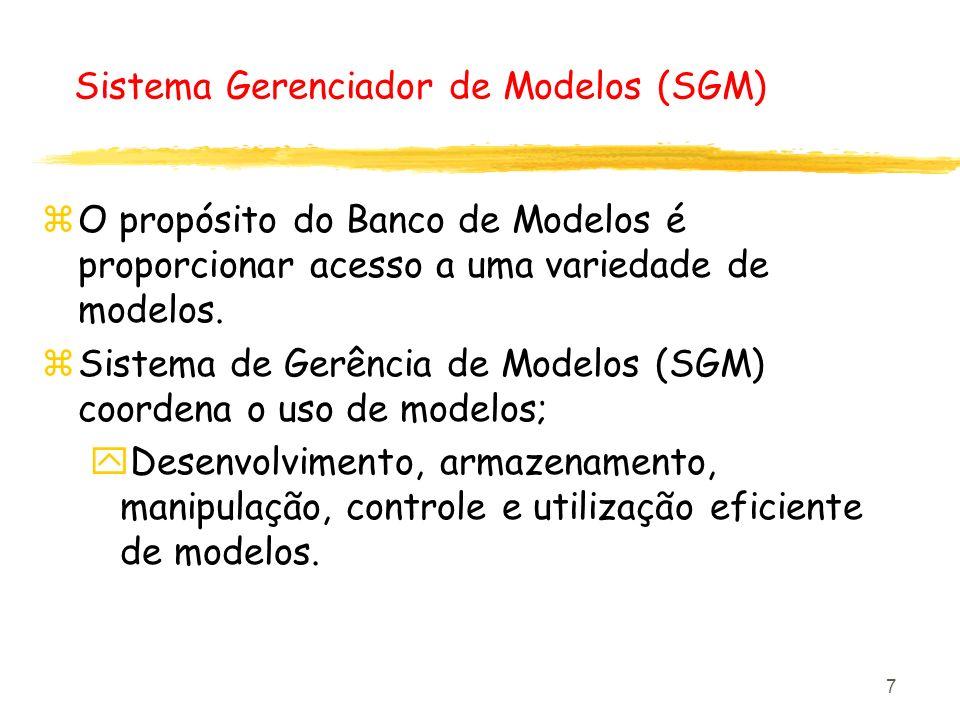 7 Sistema Gerenciador de Modelos (SGM) zO propósito do Banco de Modelos é proporcionar acesso a uma variedade de modelos. zSistema de Gerência de Mode