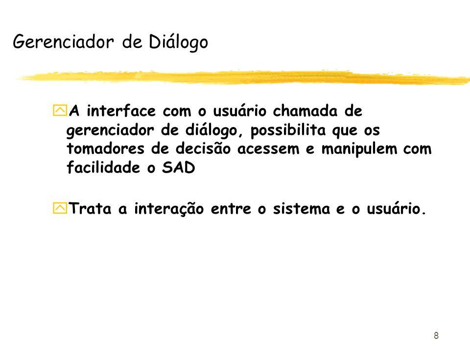 8 yA interface com o usuário chamada de gerenciador de diálogo, possibilita que os tomadores de decisão acessem e manipulem com facilidade o SAD yTrat