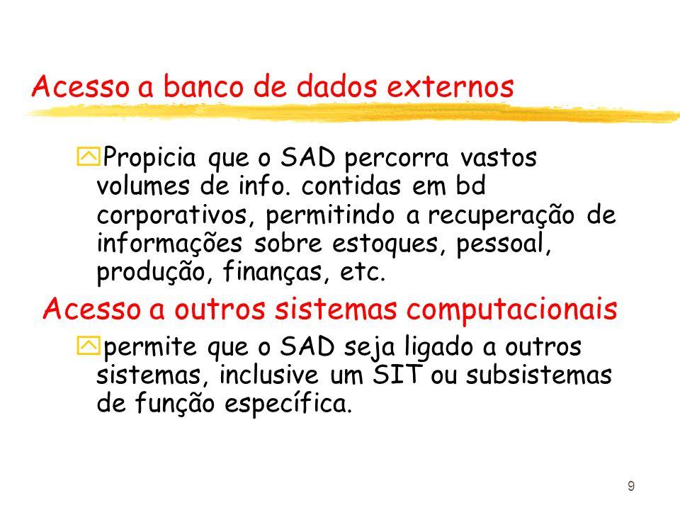 9 Acesso a banco de dados externos yPropicia que o SAD percorra vastos volumes de info. contidas em bd corporativos, permitindo a recuperação de infor