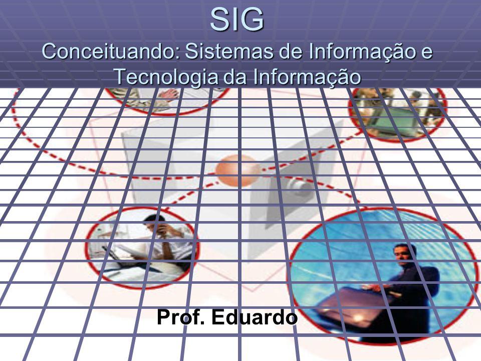 SIG Conceituando: Sistemas de Informação e Tecnologia da Informação Prof. Eduardo