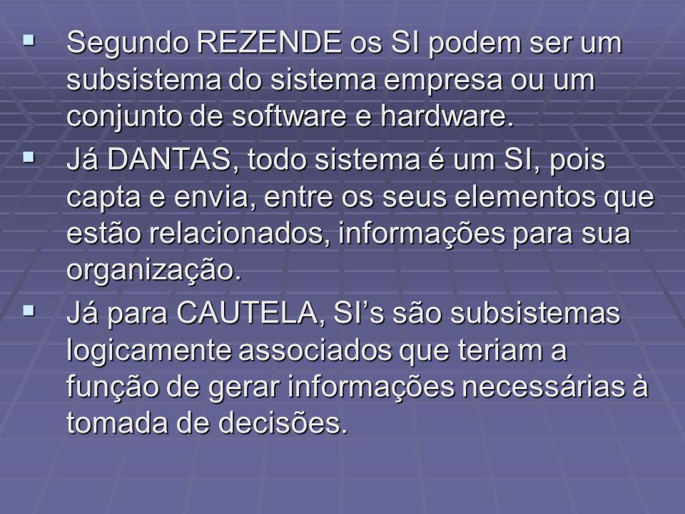 Segundo REZENDE os SI podem ser um subsistema do sistema empresa ou um conjunto de software e hardware. Segundo REZENDE os SI podem ser um subsistema