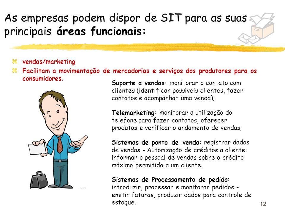 12 As empresas podem dispor de SIT para as suas principais áreas funcionais: zvendas/marketing zFacilitam a movimentação de mercadorias e serviços dos