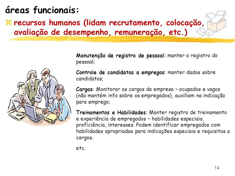 14 zrecursos humanos (lidam recrutamento, colocação, avaliação de desempenho, remuneração, etc.) áreas funcionais: Manutenção de registro de pessoal: