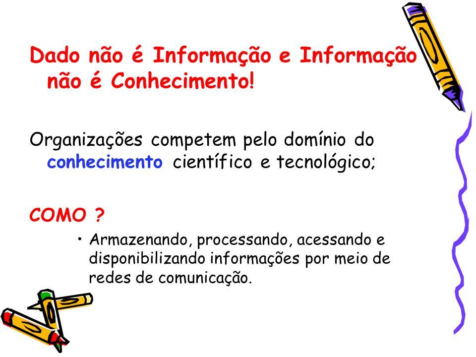 Dado não é Informação e Informação não é Conhecimento! Organizações competem pelo domínio do conhecimento científico e tecnológico; COMO ? Armazenando