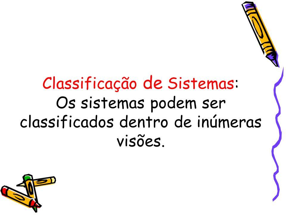 Classificação de Sistemas: Os sistemas podem ser classificados dentro de inúmeras visões.