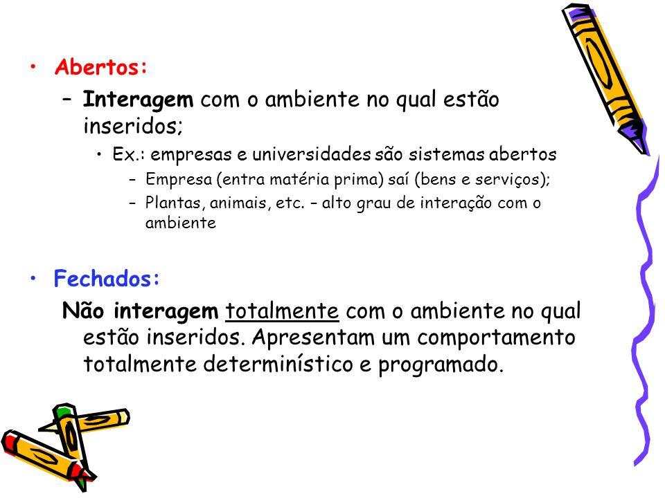 Abertos: –Interagem com o ambiente no qual estão inseridos; Ex.: empresas e universidades são sistemas abertos –Empresa (entra matéria prima) saí (ben