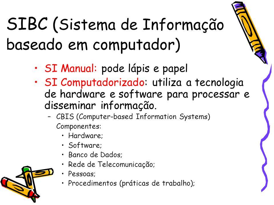 SIBC ( Sistema de Informação baseado em computador) SI Manual: pode lápis e papel SI Computadorizado: utiliza a tecnologia de hardware e software para