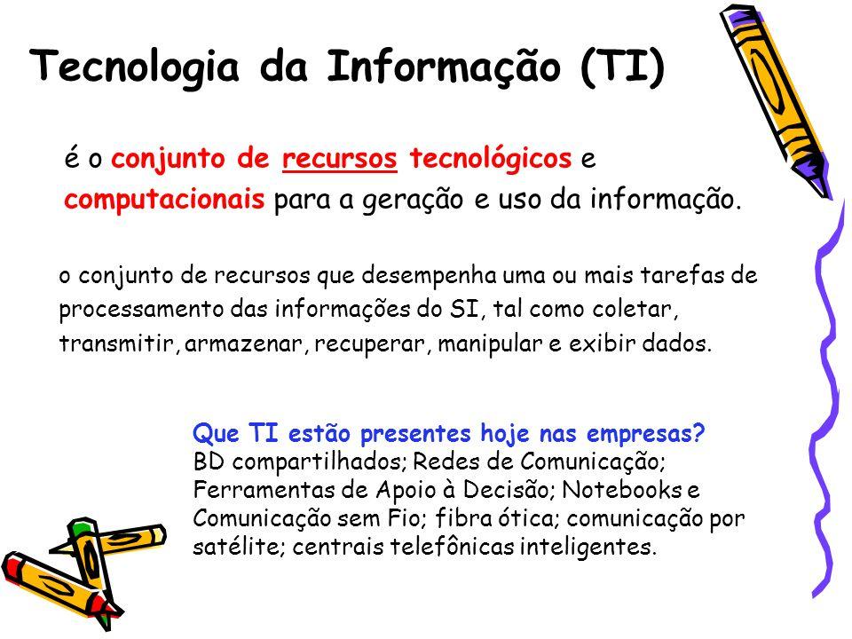 Tecnologia da Informação (TI) é o conjunto de recursos tecnológicos e computacionais para a geração e uso da informação. o conjunto de recursos que de