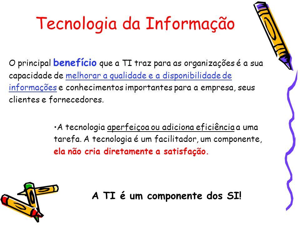 Tecnologia da Informação A tecnologia aperfeiçoa ou adiciona eficiência a uma tarefa. A tecnologia é um facilitador, um componente, ela não cria diret
