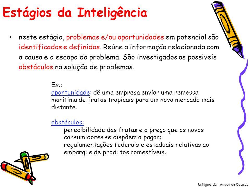 Estágios da Inteligência neste estágio, problemas e/ou oportunidades em potencial são identificados e definidos. Reúne a informação relacionada com a
