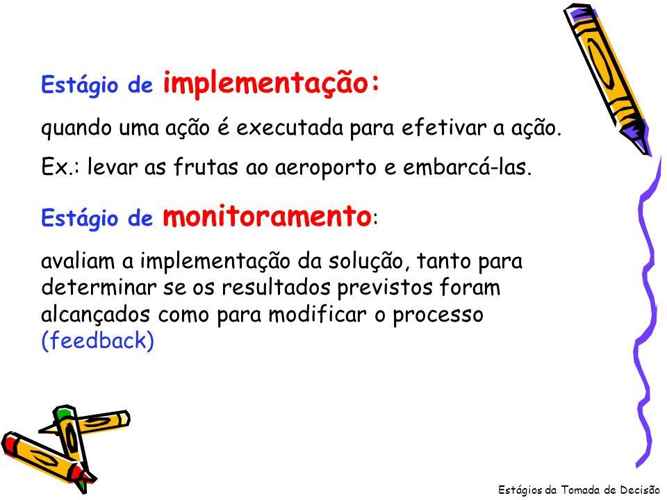 Estágios da Tomada de Decisão Estágio de implementação: quando uma ação é executada para efetivar a ação. Ex.: levar as frutas ao aeroporto e embarcá-