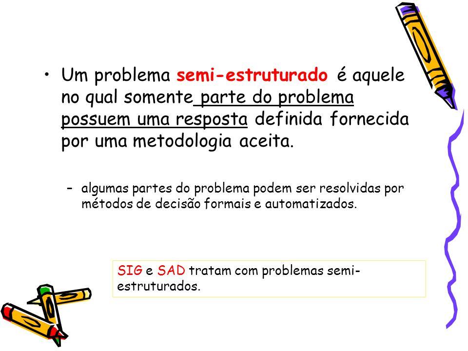 Um problema semi-estruturado é aquele no qual somente parte do problema possuem uma resposta definida fornecida por uma metodologia aceita. –algumas p