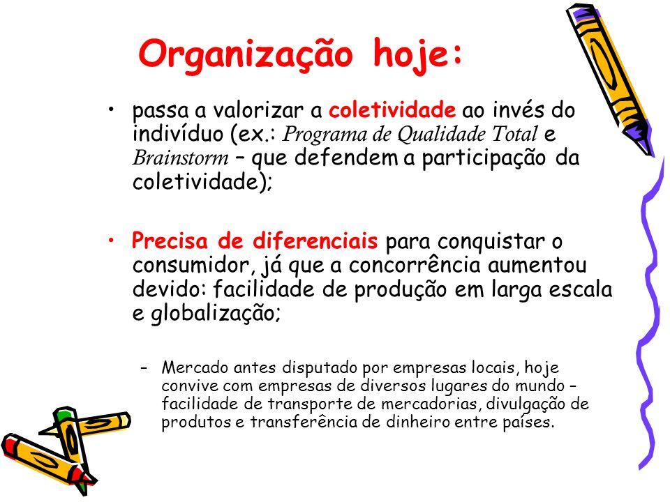 Organização hoje: passa a valorizar a coletividade ao invés do indivíduo (ex.: Programa de Qualidade Total e Brainstorm – que defendem a participação
