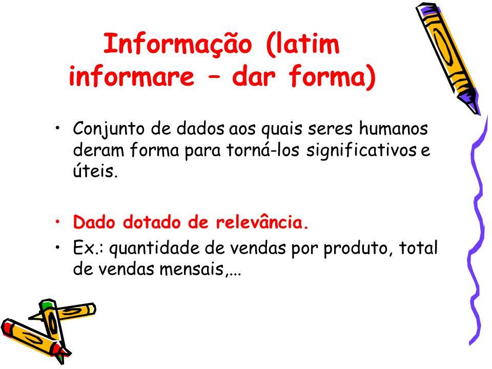 Informação (latim informare – dar forma) Conjunto de dados aos quais seres humanos deram forma para torná-los significativos e úteis. Dado dotado de r