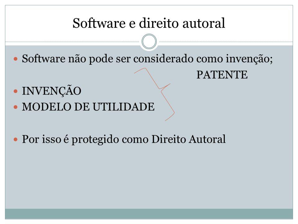 Software e direito autoral Software não pode ser considerado como invenção; PATENTE INVENÇÃO MODELO DE UTILIDADE Por isso é protegido como Direito Aut