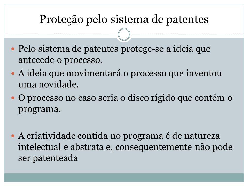 Proteção pelo sistema de patentes Pelo sistema de patentes protege-se a ideia que antecede o processo. A ideia que movimentará o processo que inventou