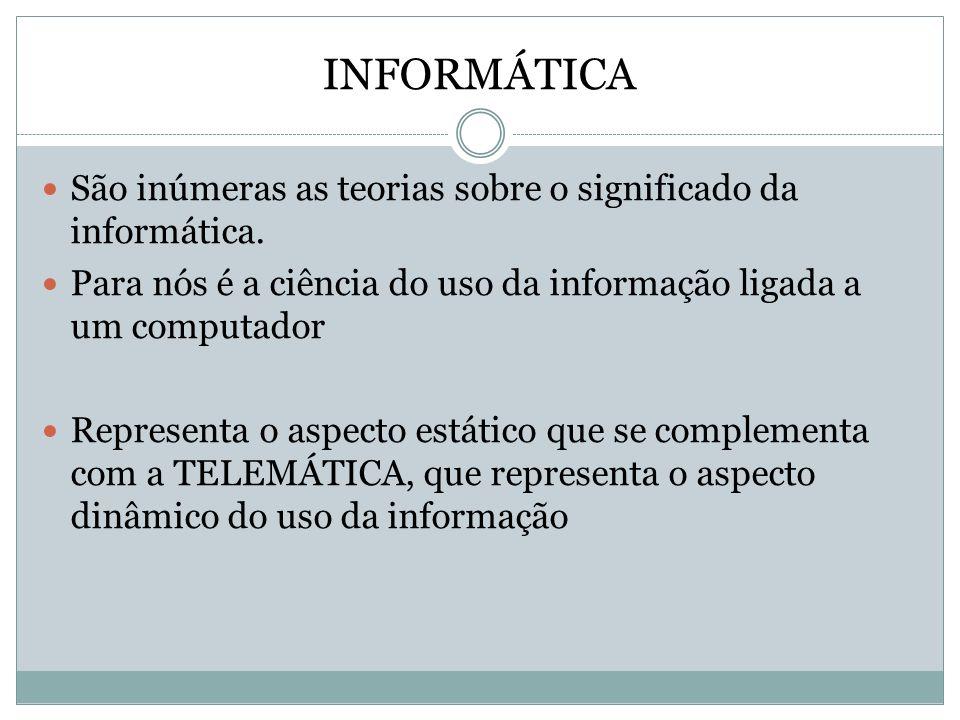 TELEMÁTICA Corresponde ao procedimento da elaboração das informações à distância.