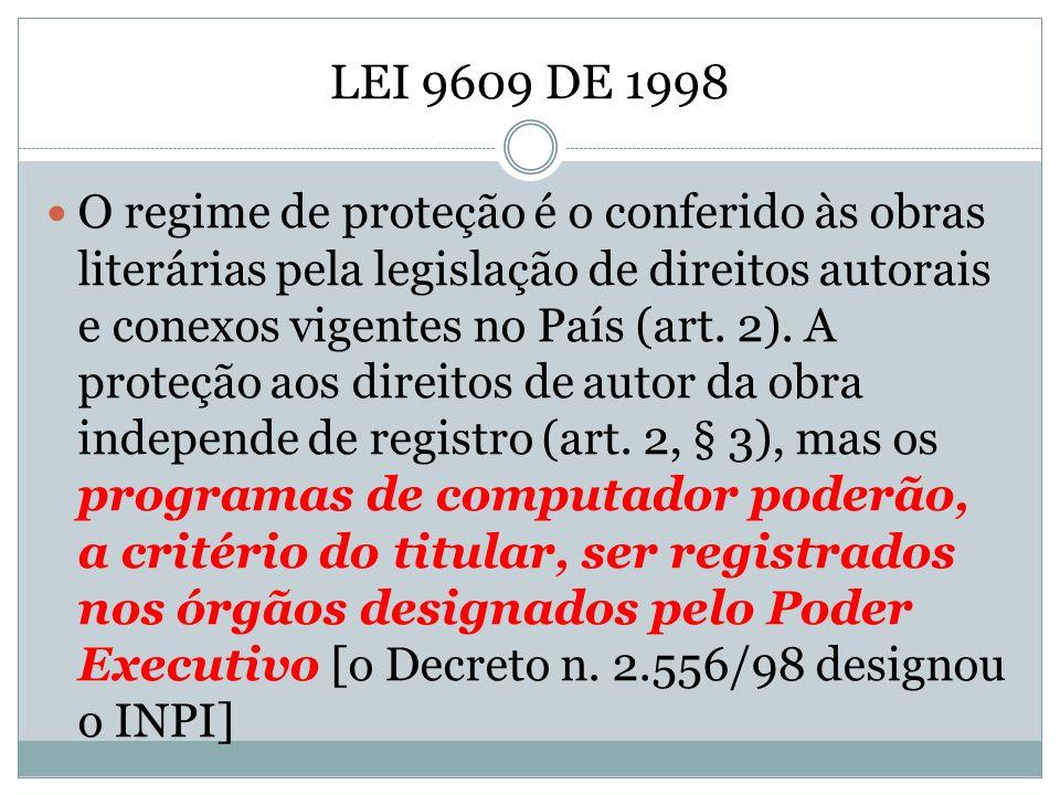 LEI 9609 DE 1998 O regime de proteção é o conferido às obras literárias pela legislação de direitos autorais e conexos vigentes no País (art. 2). A pr