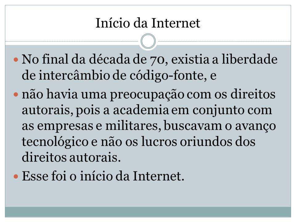 Início da Internet No final da década de 70, existia a liberdade de intercâmbio de código-fonte, e não havia uma preocupação com os direitos autorais,