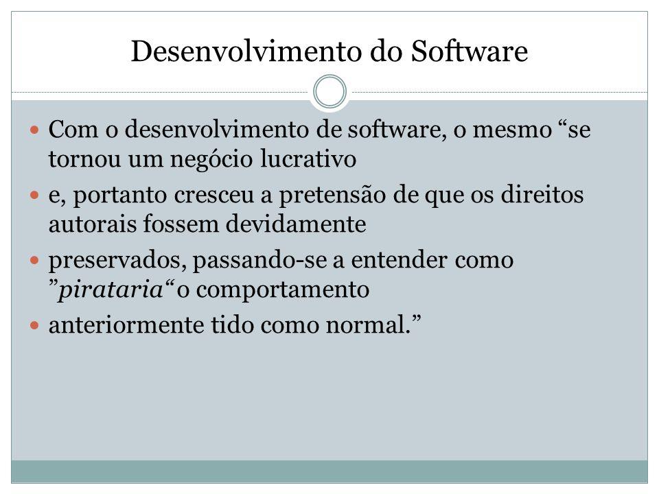 Desenvolvimento do Software Com o desenvolvimento de software, o mesmo se tornou um negócio lucrativo e, portanto cresceu a pretensão de que os direit