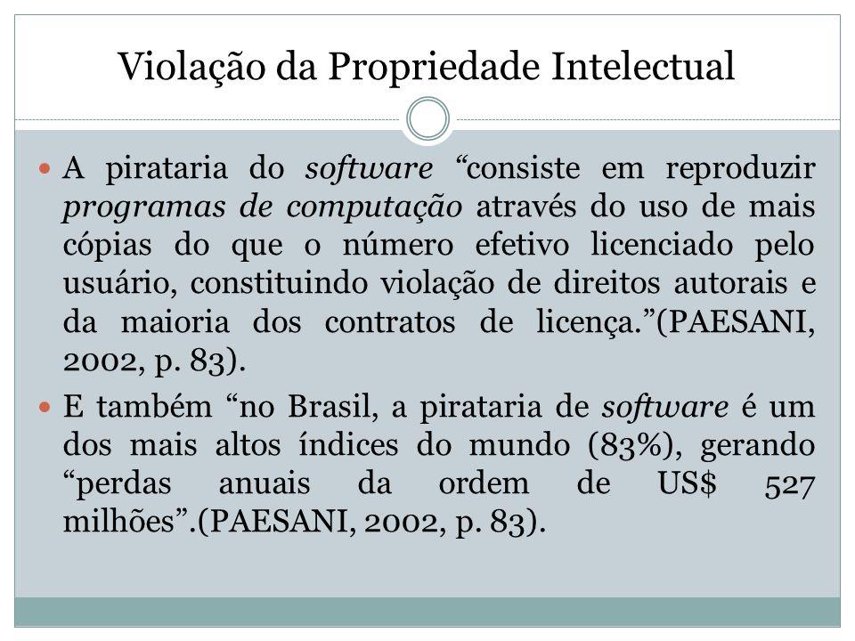 Violação da Propriedade Intelectual A pirataria do software consiste em reproduzir programas de computação através do uso de mais cópias do que o núme