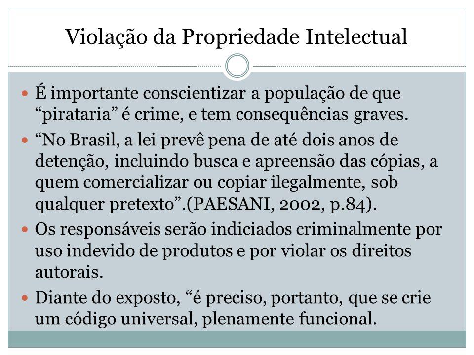 Violação da Propriedade Intelectual É importante conscientizar a população de que pirataria é crime, e tem consequências graves. No Brasil, a lei prev