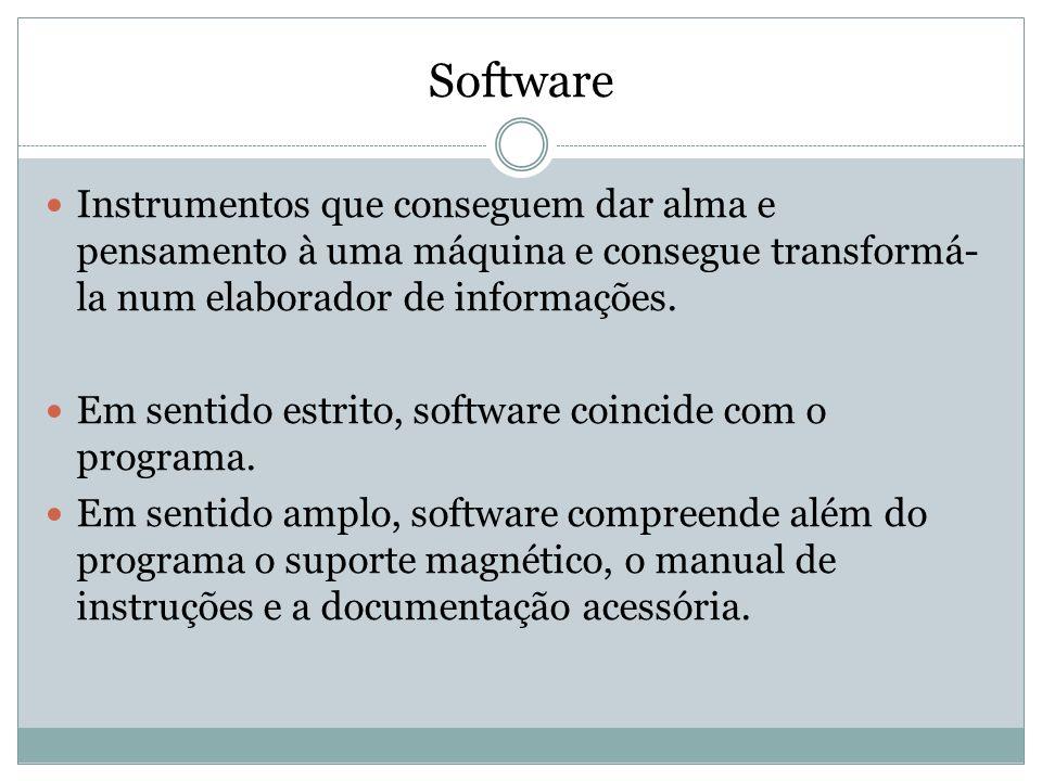 Software Instrumentos que conseguem dar alma e pensamento à uma máquina e consegue transformá- la num elaborador de informações. Em sentido estrito, s