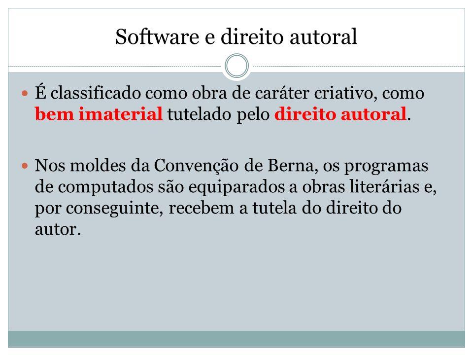 Software e direito autoral Software não pode ser considerado como invenção; PATENTE INVENÇÃO MODELO DE UTILIDADE Por isso é protegido como Direito Autoral