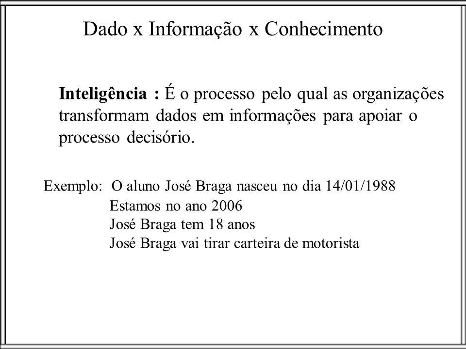 Exemplo: O aluno José Braga nasceu no dia 14/01/1988 Estamos no ano 2006 José Braga tem 18 anos José Braga vai tirar carteira de motorista Inteligênci