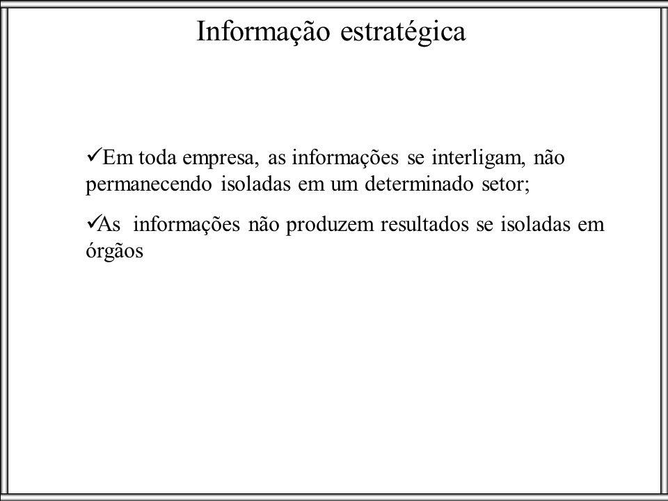 Informação estratégica Em toda empresa, as informações se interligam, não permanecendo isoladas em um determinado setor; As informações não produzem r